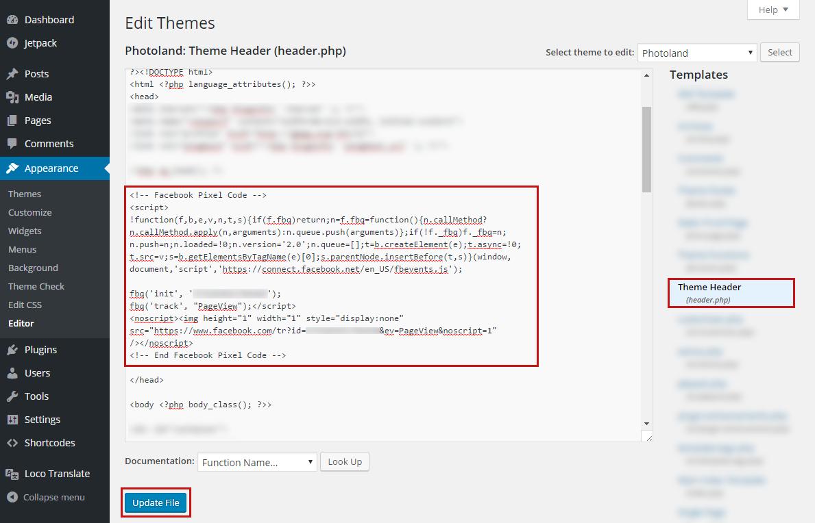 pixel code in header
