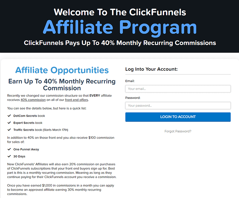 ClickFunnels Affiliate Marketing Commission